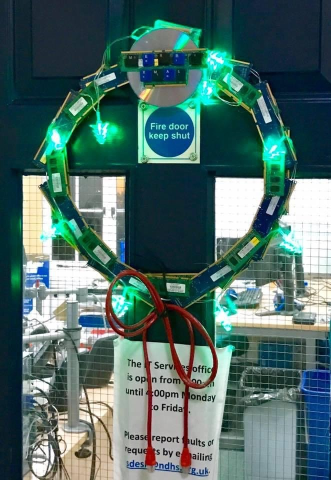 Displaying a network cable designed wreath