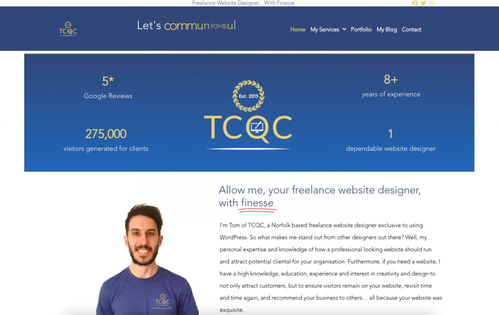 TCQC Home Page Screenshot